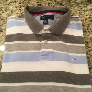 Tommy Hilfiger Gray Striped Polo